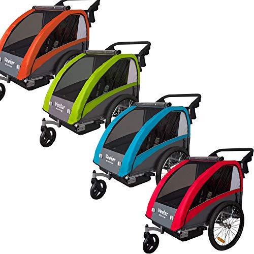 Veelar Sports 2 in 1 Kinderanhänger Fahrradanhänger Anhänger mit Buggy Set + Federung BT603 (GRÜN)