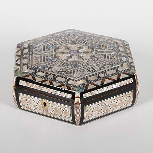 Casa Moro Orientalische Schmuckdose Rana mit Perlmutt Einlagen | Kunsthandwerk aus Ägypten | Schmuk-Schatulle Dame Muttertag | sd18