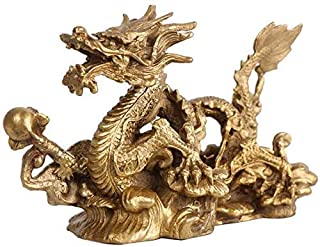 Wealth Lucky Figurine Large Pure Brass Zodiac Dragon Statues,Chinese Feng Shui Decor Figurine for Home and Office,Wealth a...
