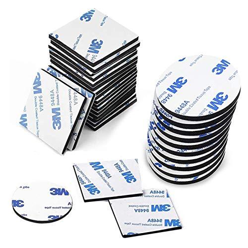 Doppelseitige Schaumstoff Pads 3M Klebepads Doppelseitig Ultra Strong Montageband Quadratisch und Rund Selbstklebend Starkes Klebeband für Wände Boden Tür Gläser Metalle ohne Bohren 100 Stück
