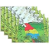 AmyNovelty Mantel Individual,Mantel De Bambú Animal Bird Parrot, Manteles Individuales Divertidos para Comedor Interior,Set of 6