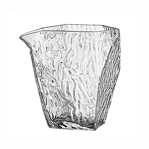 Jarra de agua de borosilicato resistente al calor de 10 onzas, jarra de vidrio con boquilla, redonda, hecha a mano, juego de 2