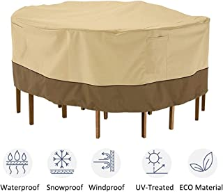 kdgarden Outdoor Round Patio Table and 6 Chairs Set Cover, Heavy Duty Waterproof 600D Large Furniture Set Cover for All Weather Protection, 84