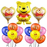 Winnie The Pooh Birthday Decoration 15PCS Balloons Winnie The Pooh Party Foil Aluminum Balloons for Kids Gift Birthday Themed Party Supplies Baby Shower
