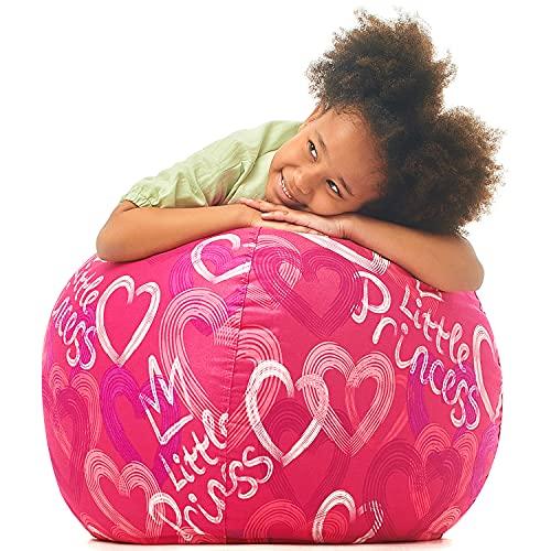 5 STARS UNITED Stofftier-Aufbewahrung – Nur Bezug – 90+ Plüschtier-Halter und Organizer für Jungen und Mädchen Baumwolle – Rosa Prinzessin