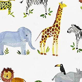 Carousel Designs Painted Zoo Fabric by The Yard - Organic 100% Cotton
