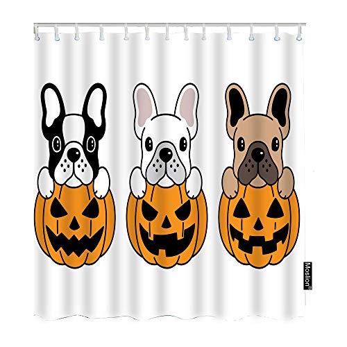Moslion French Bulldog Pumpkin Shower Curtain Halloween Design Cute Cartoon Animal Puppy Pug Doddle FunnyShowerCurtain Gift for Bathroom Decoration Polyester 72Wx72H Inch