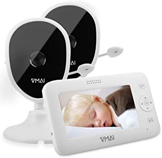 Baby Monitor, 4.3'' Video Baby Monitor with 2 Cameras, Night Vision, Temperature Monitoring, 5 Lullabies, 2-Way Talk, VOX ...