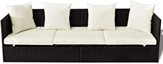 Nishore Outdoor Sofa with Cushion & Pillow Poly Rattan Brown 78.7 inch x 23.6 inch x 23 inch (L x W x H)