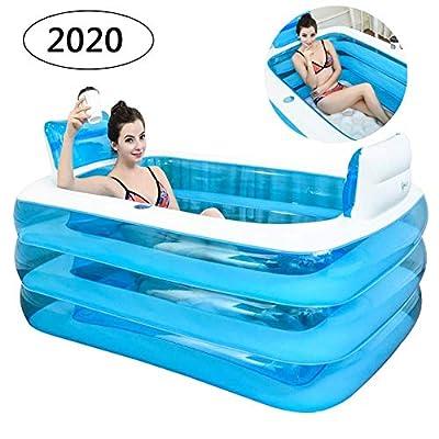 CTEGOOD Inflatable Bath Tubes for Adults Portable Folding Inflatable Bathtub with Electric Air Pump Soaking Bathtub Home SPA Bath Equip Blue 160×115×60cm