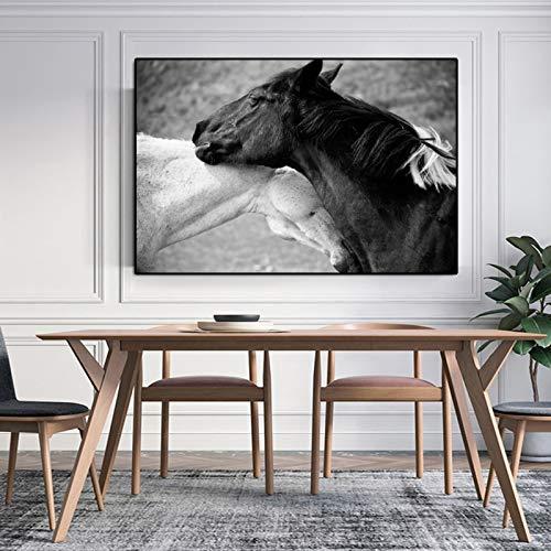 YuanMinglu Moderne wandkunst leinwand malerei Tier Poster und Druck schwarz und weiß Pferd Wand Wohnzimmer Dekoration rahmenlose malerei 20x30 cm