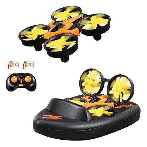 HELIFAR Hovercraft Drone, H808 Mini RC Drone para Niños, 3D-Flip Modo sin Cabeza Control Remoto Quadcopter, Mini Drone Deformable con 3 Modos Barco / Drone / Coches