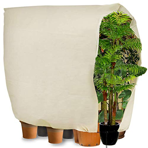 FeelGlad Garden Plant Fleece Frost Protection Covers, Frost Covers For Plants 240 * 200CM Plant Warming Jackets Large For Extra Large Potted Plant