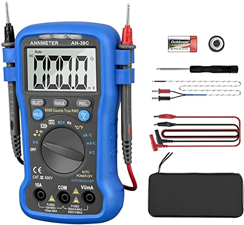 Digital Multimeter Auto-Ranging Volt Amp Ohm Meter,AN-39C 6000 Counts TRMS Electrical Tester DMM for...