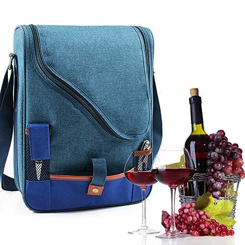 ZJTA Wein-Rucksack, Nylon Canvas Handtaschen mit Reißverschluss Mittelwand, Wein Käse-Taschen für Picknick-Konzert Strand
