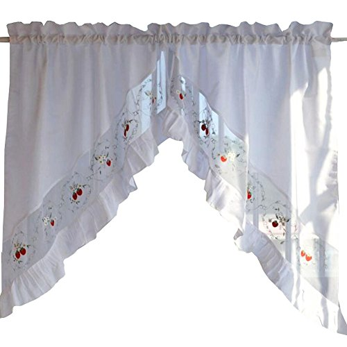 Black Temptation Süße Blume gestickte Vorhang Küche Vorhang Kaffee Screen-EIN Paar