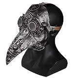 Stegosaurus Plague Doctor Bird Mask Long Nose Beak Cosplay Steampunk Halloween Costume Props Latex Material (Silver)
