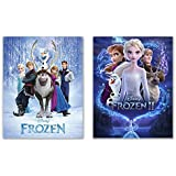 Frozen 1 & 2 Movie Posters - 11x14 Glossy Art Prints - Featuring Elsa, Anna, Kristoff and Sven, Olaf and Bruni