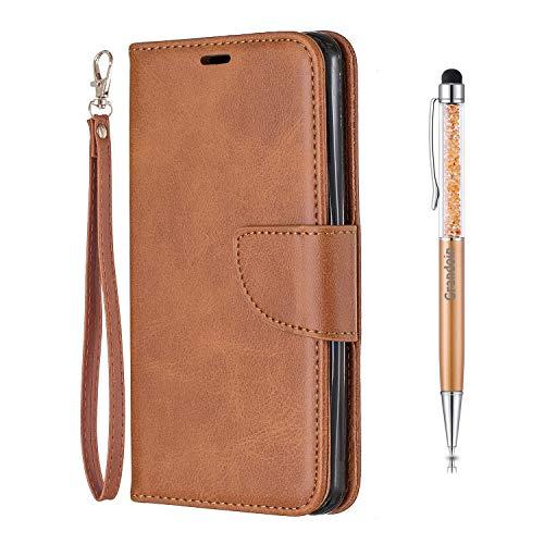 Grandoin Funda para LG G6, Color Sólido PU Cuero Case Cuerpo Completo Carcasa Protectora Cartera Soporte Plegable Función Fundas Case Cover (Marrón)