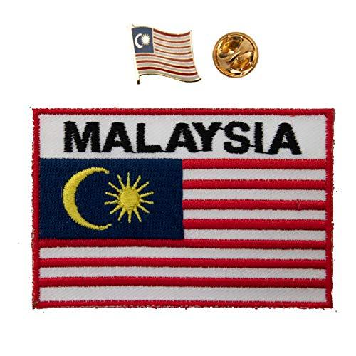 A-ONE Malaysia-Nationalflaggen, bestickt, zum Aufnähen, für Taschen, Anstecknadeln, Malaysia-Flaggen, Weltreises-Souvenir, 2 Stück