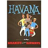 SDGW Cartel De Anuncios Vintage Airways Brasil Braniff Havana Panamá Carteles Pinturas Clásicas En Lienzo Decoración del Hogar Regalo-60X80Cm Sin Marco
