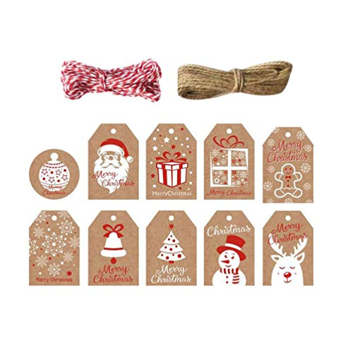 Toyvian Etiquetas de Papel para Presente de Natal 100 Peças Artesanais Etiquetas de Pendurar Etiquetas de Artesanato Com Corda de 10 M para Presentes de Natal E Lembrancinhas de Casamento
