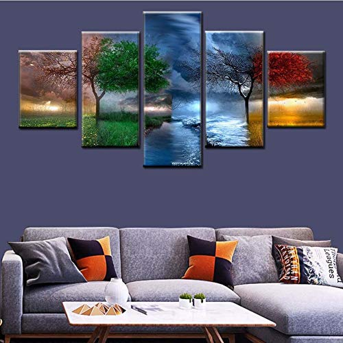 Drucken Bilder Nordische Kunst 5 Stück 4 Jahreszeiten Baum abstrakte Malerei Wohnzimmer Landschaft Leinwand Hauptdekoration,Rahmenlose Malerei,40x60cmx2, 40x80cmx2, 40x100cmx1