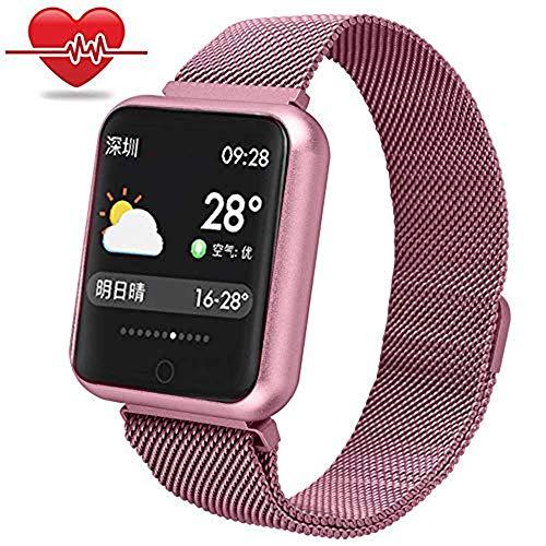 ELECMYL Smart Watch für Männer, Frauen und Kinder, Sport im Freien wasserdicht IP68 Smart Watch für Android und iOS-System, Unterstützung Call Reminder Und Nachricht Erinnerung,Rosa
