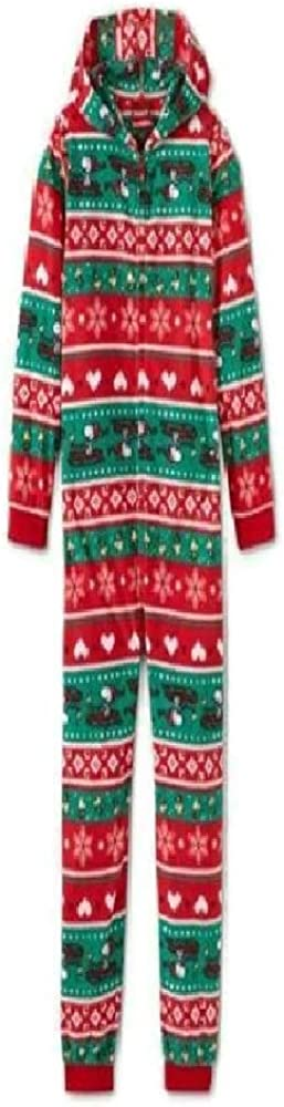 Snoopy Fairisle One Piece Hooded Sleeper- Union Suit Red and Green- Woodstock- Girls size small (6-6x)