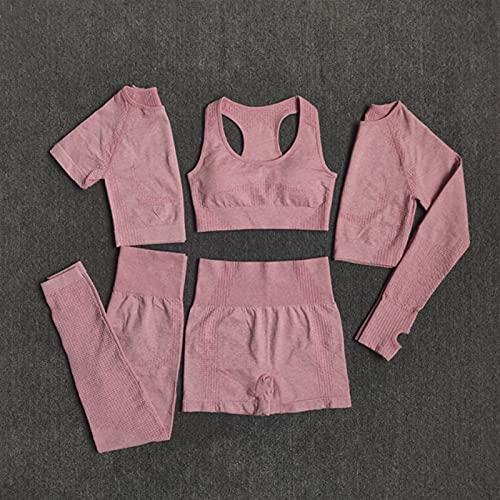 Shability Mujeres Sin Fisuras Yoga Conjunto Entrenamiento Deportes Ropa Deportiva Gimnasio Fitness Manga Larga Cultivo Superior Alta Cintura Leggings Deportes Trajes Deportivos yangain