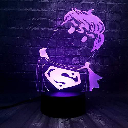Diapositiva 3D Luz De Noche Led Capitán Marvel Escudo Americano Superman Q Lámpara De Mesa Acrílica Decoración Del Hogar Cambio Usb Niño Juguete Regalo