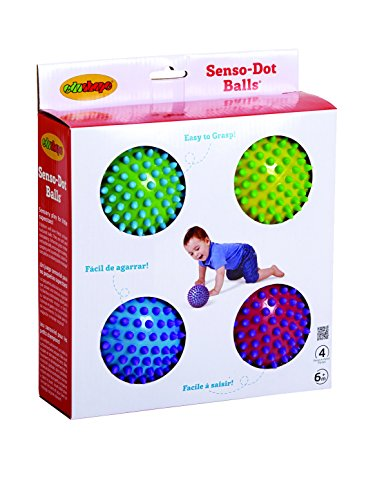 Textured Sensory Balls - Set Of 4 Colorful Senso-Dot Balls - Grip, Toss And Roll For Sensory Engagement - Bright, Colorful, Textured Design To Enhance Color Recognition And Stimulates Visual Senses - Colors May Vary