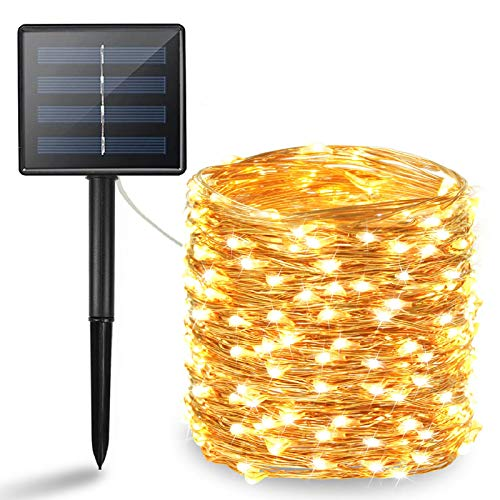 BHCLIGHT Solar String Lights Outdoor, Upgraded 200 LED Waterproof Solar Lights with Bigger Solar Panel, Solar Fairy Lights Outdoor Decoration for Garden, Yard, Patio, Lawn -Warm White