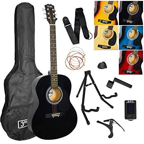 3rd Avenue 4/4 Akustikgitarren-Set für Anfänger mit Gigbag, Plektren, Ersatz-Saiten, Ständer, Gurt, Stimmgerät, Kapodaster und Saitenkurbel – Schwarz, 0, Akustik