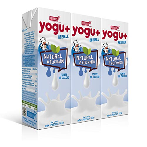 Feiraco Yogu+ Natural  Azucarado - Paquete de 8 packs de 3x200 ml - Total: 4800 ml