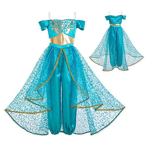 INGSIST Traje de jazmín Disfraz para niña Vestido Princesa árabe Disfraz para 11-12 años