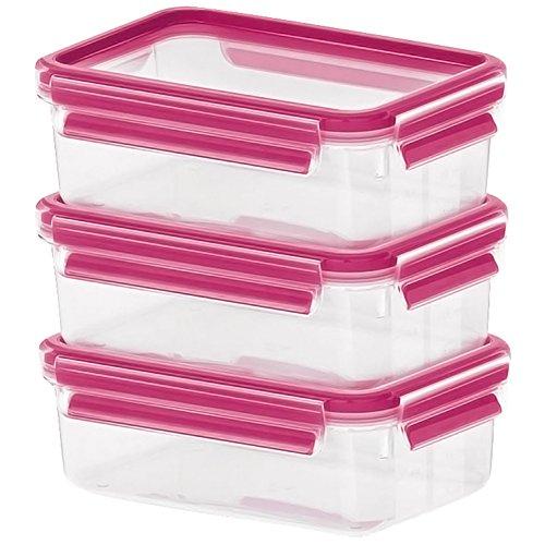 Emsa Clip & Close Glas, Set, Himbeer, 3 x 0,5 L Frischhaltedose, transparent, 17,5 x 12,5 x 5,9 cm, 3-Einheiten