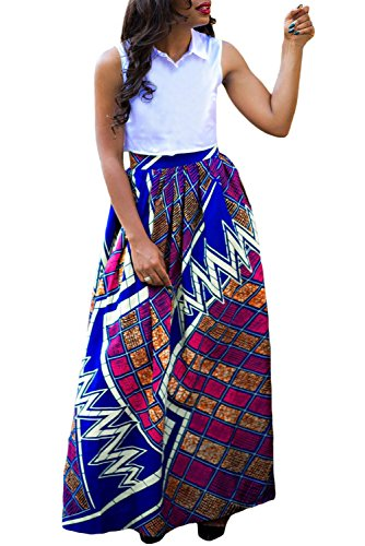 Annflat Women's African Print Casual A-Line Maxi Skirt Flared Skirt Multisize Medium Multi4
