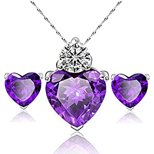 Customer reviews Qinlee Woman Girl Necklace Earrings Set Diamond Heart Pendant Style Elegant Women Jewellery Necklace Chain of Crystal Necklace +Earrings Set(Purple)