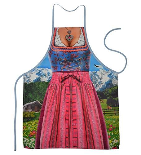 Geile-Fun-T-Shirts Grillschürze Bayern Dirndl Tracht Küchenschürze Damen Koch Schürze geil Bedruckt Geschenk Set mit Mini Flaschenschürze