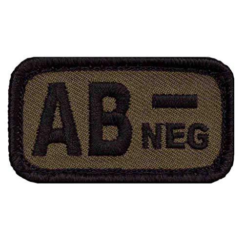 Café Viereck ® Bundeswehr Blutgruppe Patch Gestickt mit Klett - 5 cm x 3 cm (Oliv - AB-)