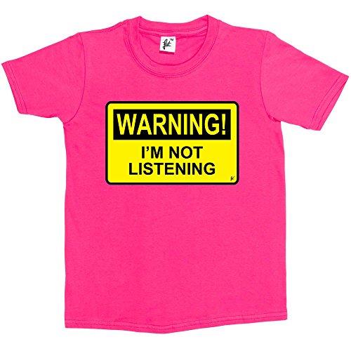 Fancy A Snuggle Warning I'm Not Listening Kids Boys/Girls T-Shirt Hot Pink...