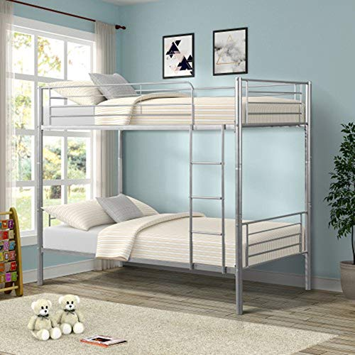 Merax Twin Over Twin Metal Bunk Bed with Removable Ladder (Silver.)