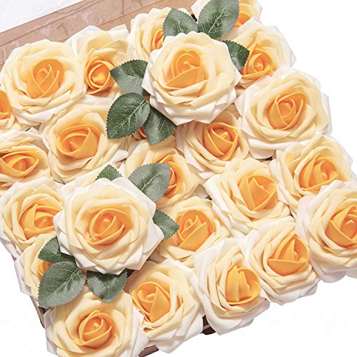 Ling's moment Artificial Flowers Orange Yellow Heirloom Roses 25pcs Real Looking Fake Roses w/Stem for DIY Wedding Bouquets Centerpieces Arrangements Home Décor
