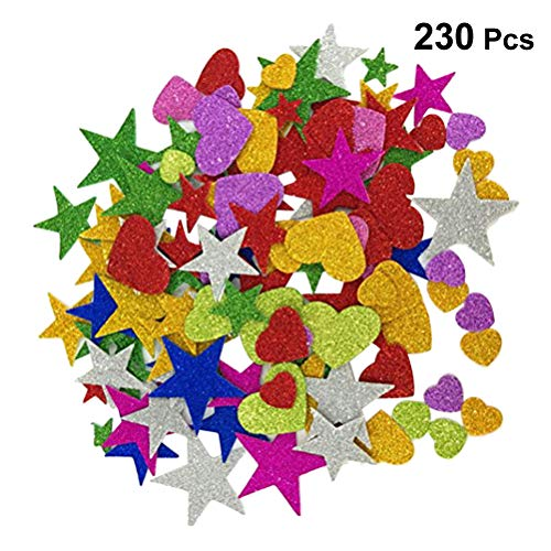 Toyvian Pegatinas con Purpurina en Forma de Estrella y Espuma para proyectos de Bricolaje en el Techo de la Pared, 230pcs