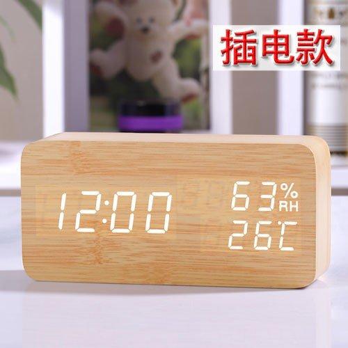 Komo Hygromètre LED lumière Nuit élégante Horloge électronique de désactivation de l'alarme Radio-réveil Table de Chevet créatif température de Sortie de l'étudiants, branché, Bois Blanc Jaune