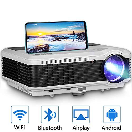 WiFi Projector to Synchronize Smartphone Screen, 4600 Lux HD 1080P Supported Video Projector, Ideal for Home Theater Outdoor Entertainment, Compatible with TV Stick, PS4, HDMI, VGA, TF, AV, USB