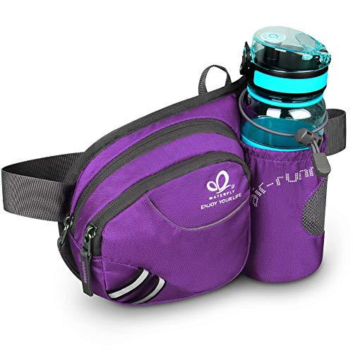 Waterfly Riñonera Running Deportiva Hombre Mujer con Soporte para Botellas Bolsa de Cintura para Correr Senderismo (Púrpura)