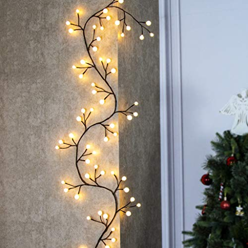 EAMBRITE Brown Twig Garland 8.8Ft 84 Led Frosted Ball Lights Indoor Outdoor Plug in for Christmas Patio Garden Wedding Party Bedroom