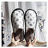 LDH Zapatillas para Hombres y Mujeres Inicio Indoor Warm Wool No-Slip Interior Interior Zapatillas al Aire Libre PU Zapatillas de algodón para Hombres y Mujeres (Color : B, Size : 42-43)